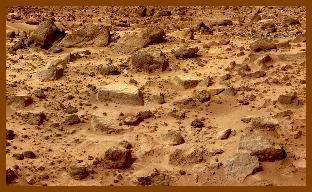 Sliced rocks, on Mars.